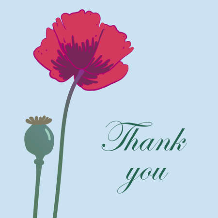 Card template with hand drawn poppy flower and inscription Thank you. Vector illustration.