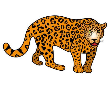 Leopard. Cartoon style. Vector illustration isolated.
