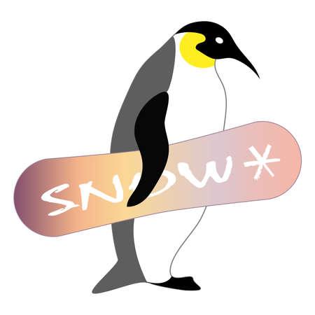 Penguin with snowboard. Winter sport. Vector illustration