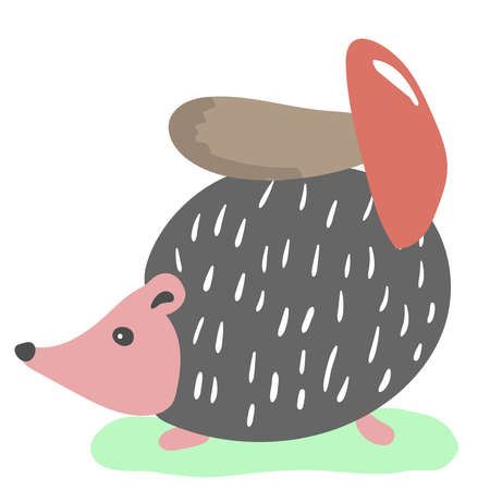 Cute hedgehog with mushroom in simple cartoon style. Vector illustration.