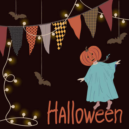 Halloween party poster concept with child in halloween costume, flags and electric garaland. Vector illustration