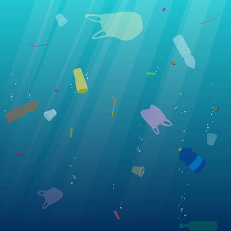 Plastic ocean pollution. Underwater garbage bags, bottles, cups, straws. Ecological concept. Environment. Vector illustration.