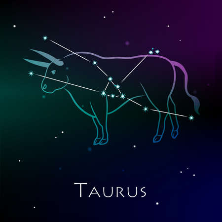 Taurus Zodiac Sign and the Constellation against a dark starry sky. Vector illustration on a black background