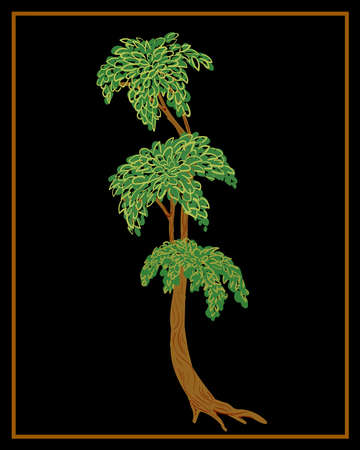 Tree on a black background. Russian traditional Palekh painting style. Vector illustration. Иллюстрация