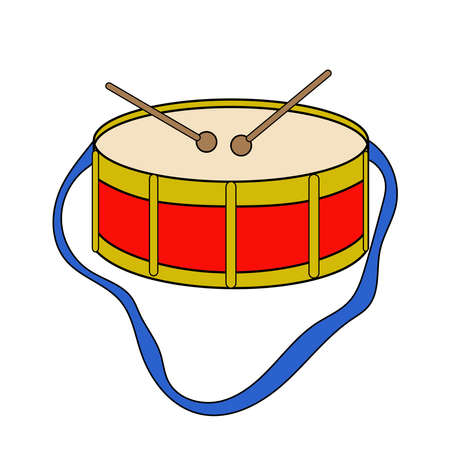 Drum musicial instrument - childish toy in cartoon style. Vector illustration isolated