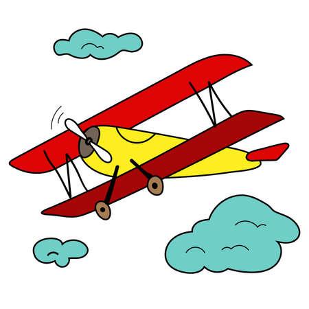 Airplane in the sky. Cartoon style. Childish vector illustration 矢量图像