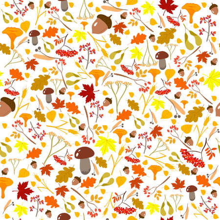 Seamless autumn pattern with leaves, stems, acorns, mushrooms, berries, maple seed pods. Fall season vector texture and swatch for illustrator