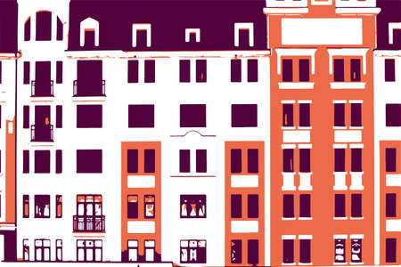 Building facade with windows vector background. Urban pattern