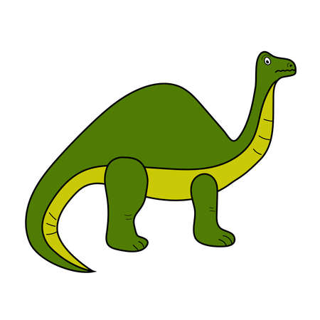 Dinosaur Brontosaurus isolated. Cartoon style. Childish vector illustration. Иллюстрация