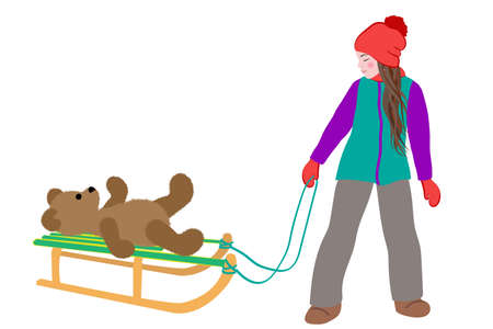 Little cute girl carries a teddy bear on sled in winter. Active leisure outdoors in winter. Cartoon vector illustration isolated on a white background. Illusztráció