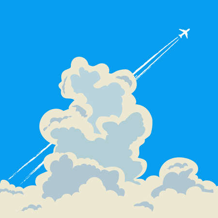 Jet plane flying in the sky among big cumulus clouds, leaving vapor trails behind in flight. Vector illustration