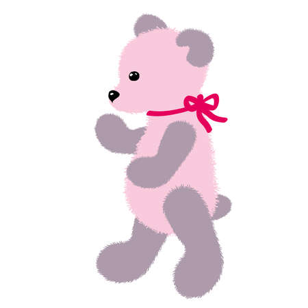 Soft plush toy pink teddy bear with ribbon. Vector illustration