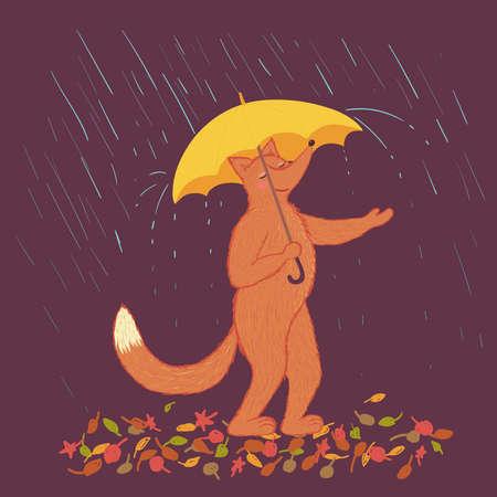 Cute animal fox with umbrella in the rain. Autumn vector illustration