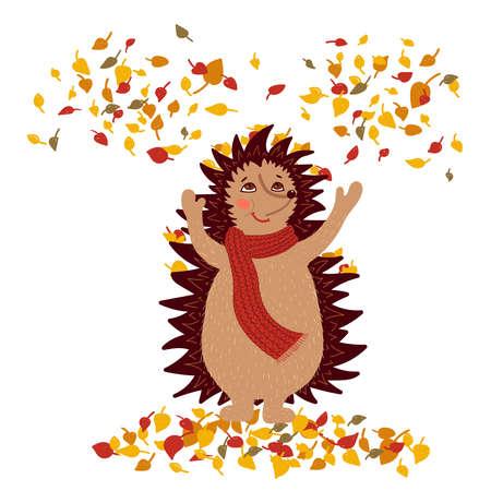 Cute hedgehog throwing up autumn colorful leaves. Fall season. Vector illustration 矢量图像