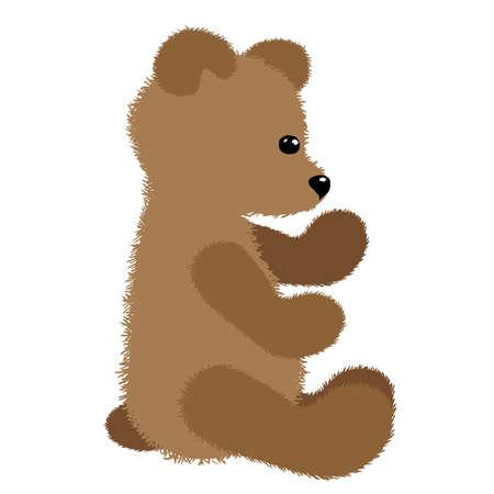 Soft plush toy brown teddy bear. Vector illustration Illusztráció