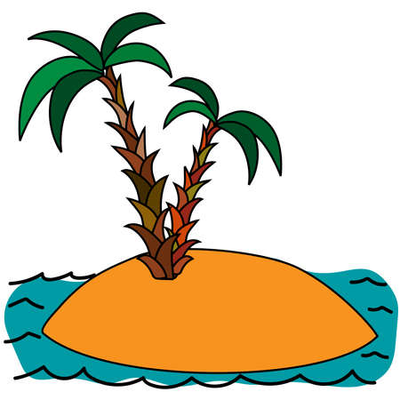 Cartoon vector illustration of the small tropical uninhabited island in the ocean with palm trees.