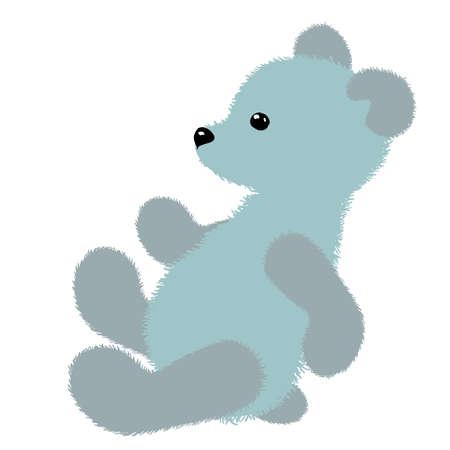 Soft plush toy white polar teddy bear. Vector illustration