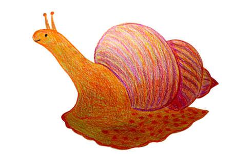 Smiling cute snail. Hand drawn by color pencils illustration. 免版税图像