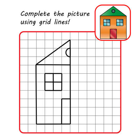 Educational game for kids. Simple exercise. House. Drawing using grid. Symmetrical drawing. Vector illustration.