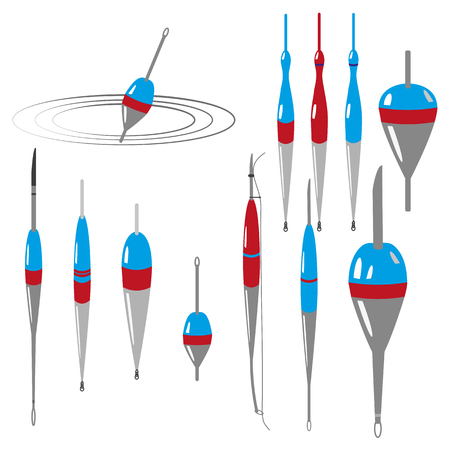 Vektorsatz des Fischschwimmers. Bunte Zeichnung auf weißem Hintergrund. Kann in Postkarten, Postern, Textilien, Logo für Angelverein verwendet werden.