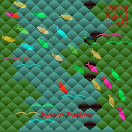Bandada de peces contra el fondo del motivo tradicional japonés, escamas de peces multicolores carpa Koi. Patrón de vector en colores brillantes.