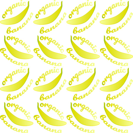 Seamless pattern with bananas and text- organic banana. Bright yellow contour on white background. illustration for design textiles, wallpapers, postcards, poster, labels mock-up.