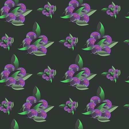 Seamless pattern with blueberries on dark background.  illustration for design textil, packaging, wallpaper.