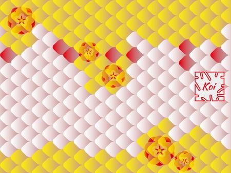 Patrón oriental nacional, escamas de peces multicolores de carpa Koi y flores de sakura. patrón de carpa Koi en amarillo brillante, rosa y rojo.