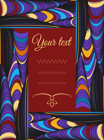Decorative frame with complex large ornament of threads and knots. Can be used for design of an invitation, postcard, poster, flyer, interiors.