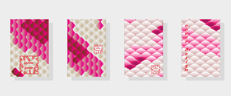 Set of fashionable modern design templates for covers. National oriental pattern, multi-colored fish scales of carp Koi. Vector illustration.