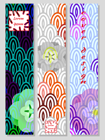 National Oriental pattern, multicolor background of Koi carp scales and sakura. Set of trendy vertical design templates for covers, business cards, magazines, interiors. Vector illustration.