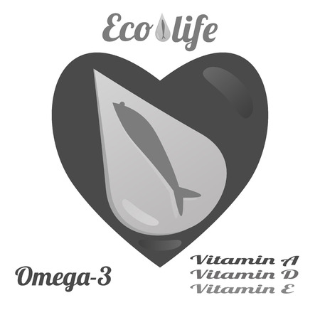 Template for advertising fish oil from ecologically clean sea waters, Omega-3 and vitamins A, D, E. Vector illustration on white background.