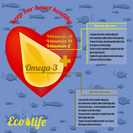 Template for advertising fish oil from ecologically clean sea waters, Omega-3 and vitamins A, D, E. Text - keep our heart healthy. Vector illustration on deep sea background.