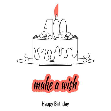 Big cake on plate with candle - make a wish. Elements of holiday greetings in  linear style. Vector illustration, icon style.