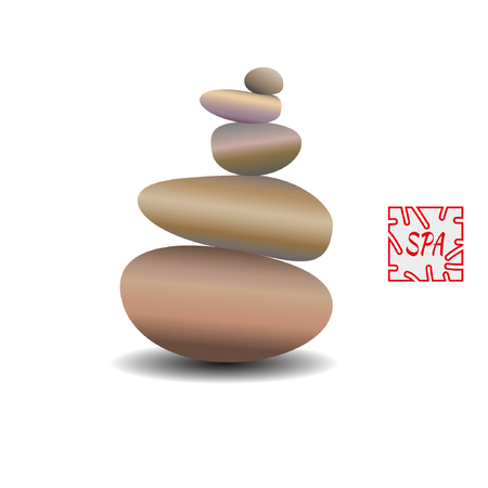 Zen stone balance, realistic image. 3D image of stones. Vector illustration for spa salons, yoga studios, relaxation studios. 矢量图像