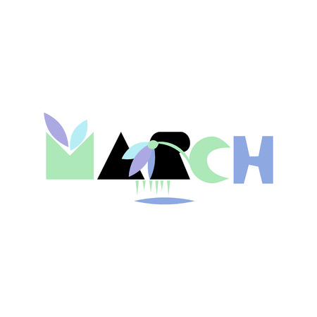 March, inscription in Scandinavian style. Vector drawing for poster, calendar.