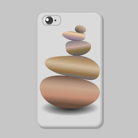 Protective cover pattern for mobile phone.  Zen stone balance, realistic image. 3D image of stones. Vector illustration.