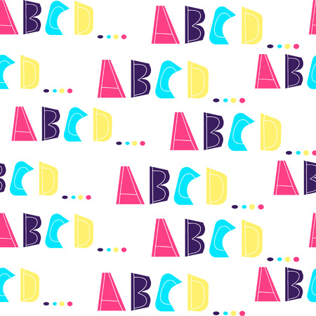 Seamless pattern with letters of alphabet A, B, C, D. Bright neon colors on white background. Letters are drawn by hand. For decor of children's books, textiles, cards, posters. Scandinavian style. Illustration