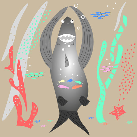 Underwater world, a big shark swallowed  flock of small fish. Flat style, hand drawn, Scandinavian style, fashionable color palette. For textile, packaging, background design.