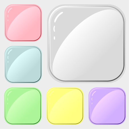 Set of square buttons for design of applications or websites.