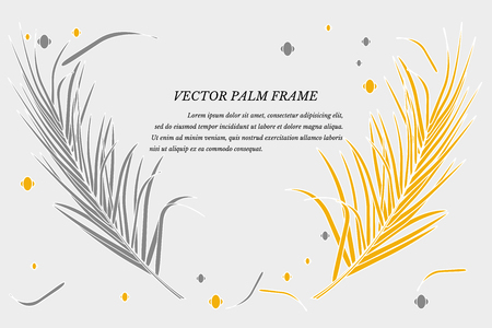 Vector with decorative palm leaves in tropics on gray background. Bright fashionable golden luxurious colors, place for text. For decoration of background invitations, posters, cards, souvenirs. Stock Illustratie