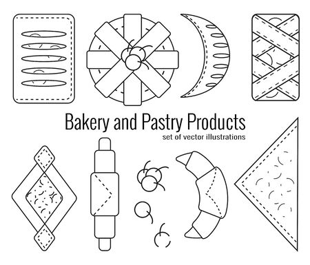 Set of bakery and pastry products in outline style on white background. Croissants, bagels, puffs, roll, buns of puff pastry with fresh berries and jam. Vector illustration for bakeries, cafe, menu.