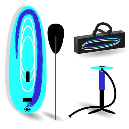 Set for Stand Up Paddle- inflatable board, paddle, hand pump, bag for surfing. Vector drawing in flat style with minimal amount of color on white background.