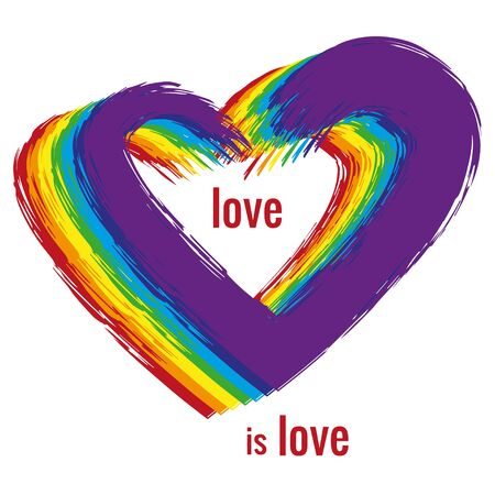 Shape of heart is painted with in rainbow color watercolor brush on white background. Text -  love is love. LGBT pride symbol. Vector illustration.