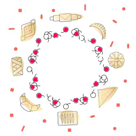 Decorative wreath of pastry cherries and fresh pastries and buns. Set of bakery and pastry products in outline style on white background. Vector illustration for bakeries, cafe, menu.