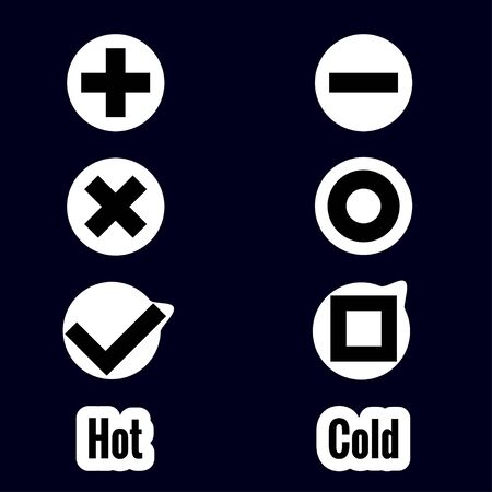 Set stickers of symbols in flat style on dark background. Symbols plus and minus, tic tac toe, cold and hot, agree and disagree. Vector illustration.