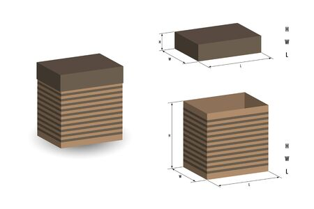 Realistic box with lid on white background, its dimensions are indicated. Open box, its length, width and height. 3D vector drawing for  design booklet, diagram, magazine, presentation. Illustration