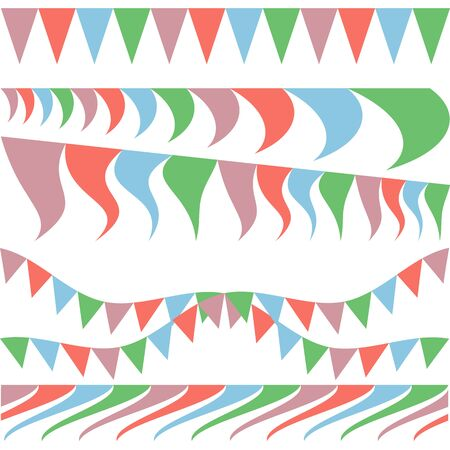 Set of party flag garlands, flags in wind waving. Vector drawing for the design of cards, posters, greeting cards, Valentine's day, weddings.