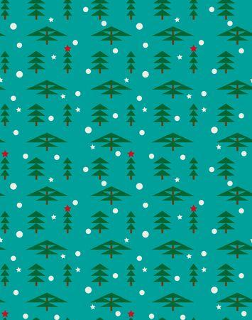 Paysage forestier d'hiver pour le nouvel an et Noël. Épinette, pin, séquoia, cyprès en hiver, chutes de flocons de neige et étoiles. Modèle vectorielle continue pour le fond pour carte de voeux, papier d'emballage.