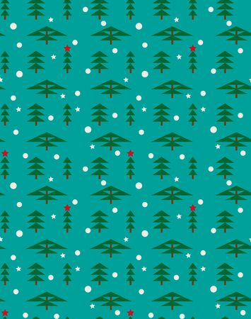 Winter forest landscape for New Year and Christmas. Spruce, pine, sequoia, cypress in winter, falling snowflakes and stars. Seamless vector pattern for background for greeting card, wrapping paper. Illustration